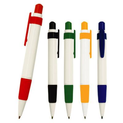 Bolígrafo de plástico con clip de color y grip de goma.
