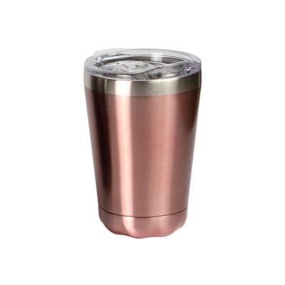 Vaso de acero inoxidable doble pared con tapa transparente de plástico deslizable